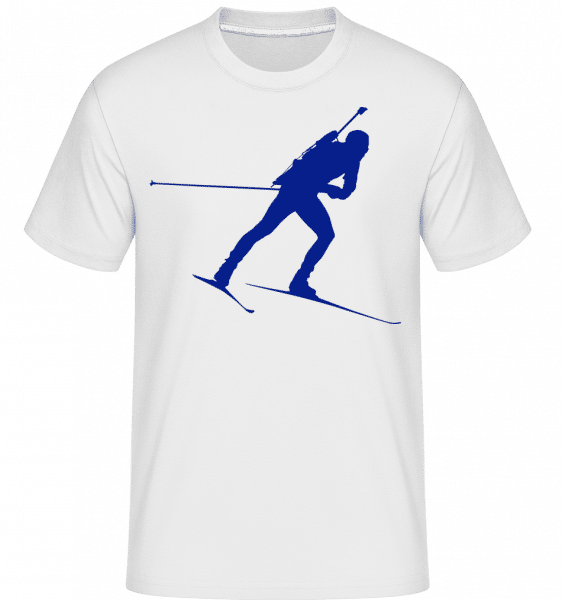 Biathlon Blue -  Shirtinator Men's T-Shirt - White - Vorn