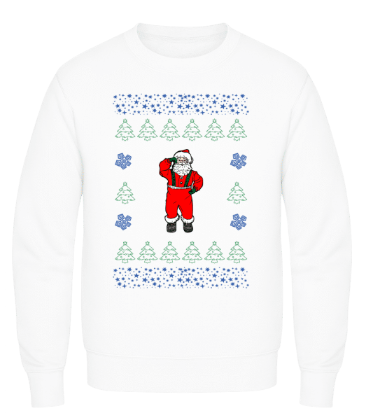 Santa Knitting Pattern - Men's Sweatshirt AWDis - White - Vorn