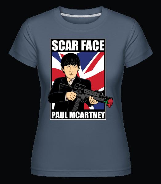Paul Mccartney Scar Face -  Shirtinator Women's T-Shirt - Denim - Vorn