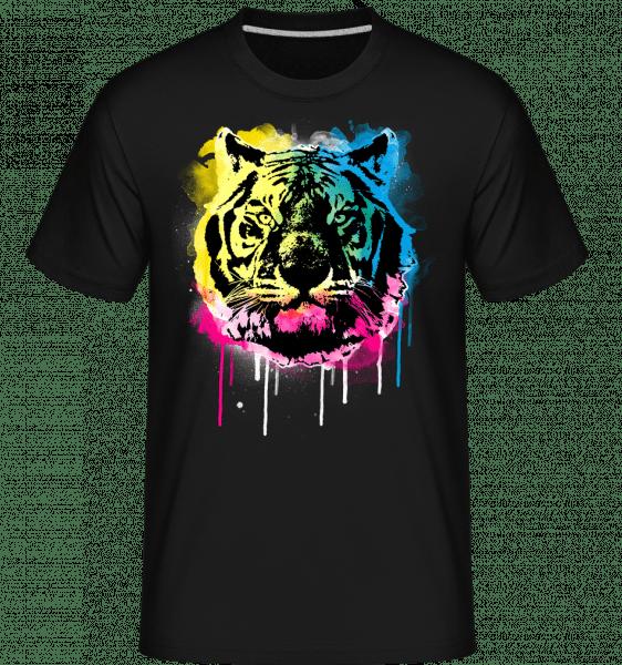 Bunter Tiger - Shirtinator Männer T-Shirt - Schwarz - Vorn