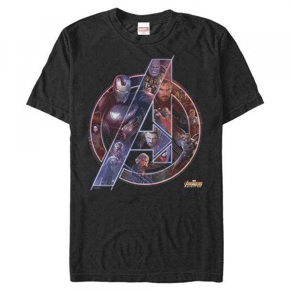 Team Neon Group Shot - Marvel Avengers Infinity War - Men's T-Shirt - Black - Front