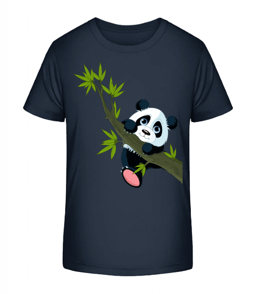 Panda Sur Une Branche - T-shirt bio Premium Enfant - Bleu marine - Vorn