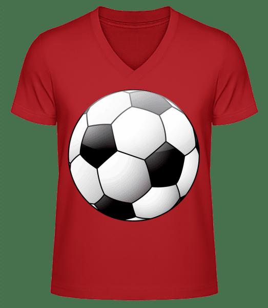 Fußball - Männer Bio T-Shirt V-Ausschnitt - Rot - Vorn