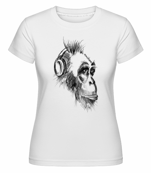 Monkey With Headphones -  Shirtinator Women's T-Shirt - White - Vorn