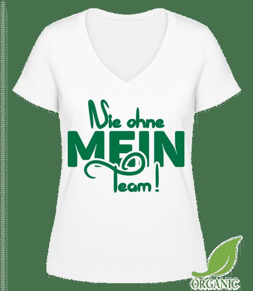 Nie Ohne Mein Team - Janet Bio T-Shirt V-Ausschnitt - Weiß - Vorn