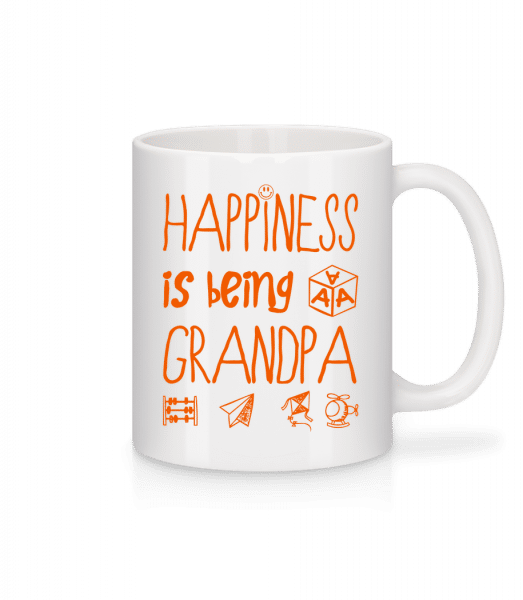 Happiness Is Beeing Grandpa - Tasse - Weiß - Vorn