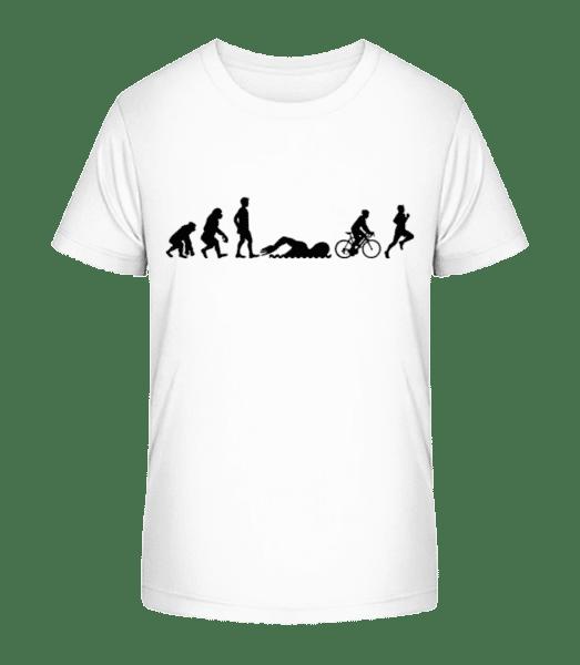 Evolution Of Triatlon - Kid's Premium Bio T-Shirt - White - Vorn