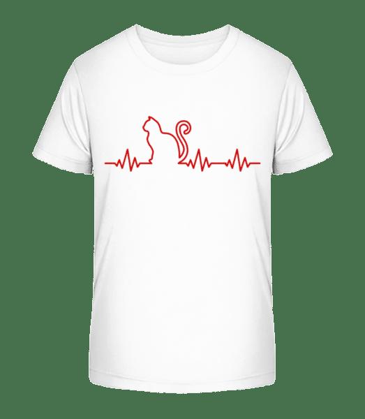 Heartbeat Cat - Kid's Premium Bio T-Shirt - White - Vorn