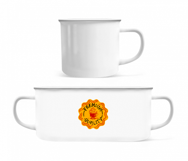 Premium Quality Coffee - Enamel-cup - White - Front