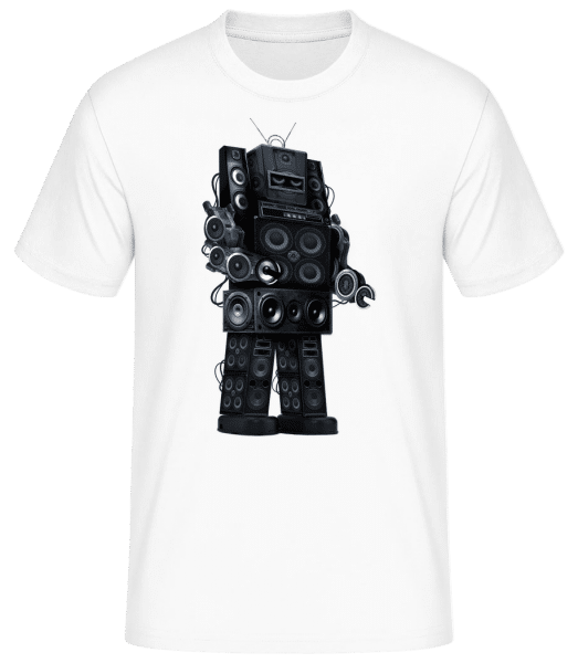 Ghetto Blaster Robot - Men's Basic T-Shirt - White - Front