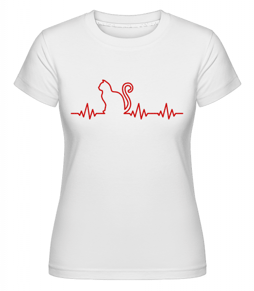 Heartbeat Cat -  Shirtinator Women's T-Shirt - White - Vorn