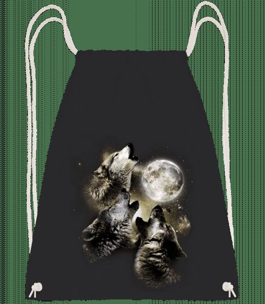 Wolf Moon - Drawstring Backpack - Black - Vorn