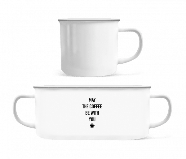 May The Coffee Be With You - Enamel-cup - White - Vorn
