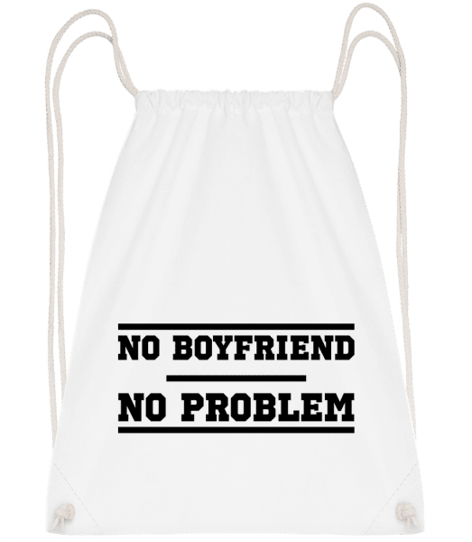 No Boyfriend No Problem - Drawstring Backpack - White - Vorn