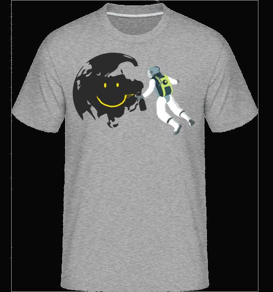 usmievavý Moon -  Shirtinator tričko pre pánov - Melírovo šedá - Predné