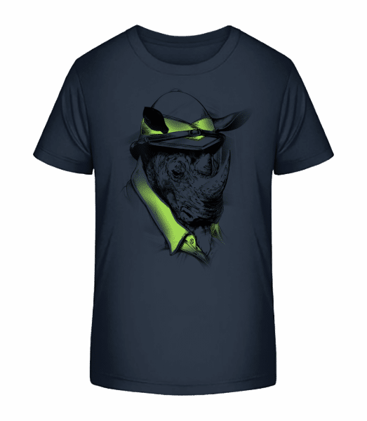 Safari Rhino - Kid's Premium Bio T-Shirt - Navy - Vorn