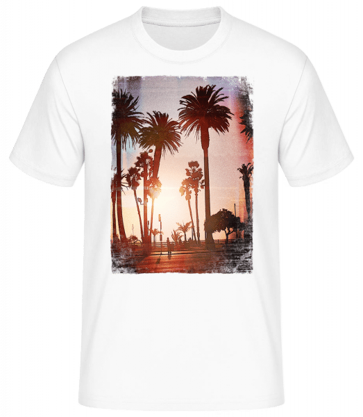 Palm Promenade - Men's Basic T-Shirt - White - Vorn