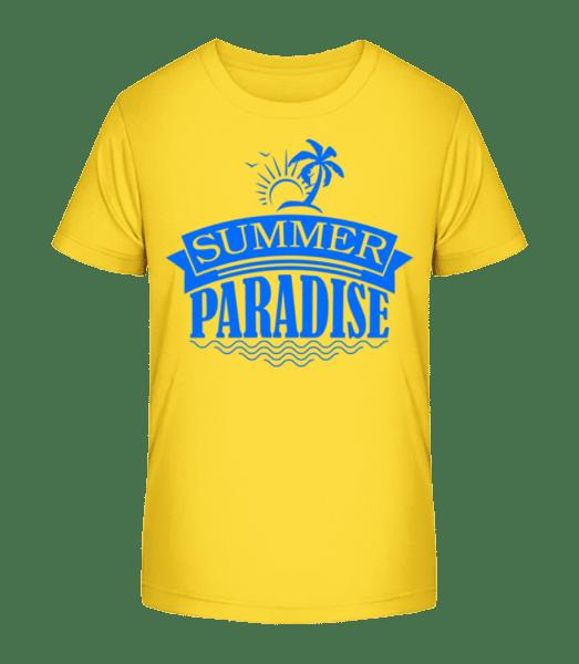 Summer Paradise Blue - Kid's Premium Bio T-Shirt - Yellow - Vorn