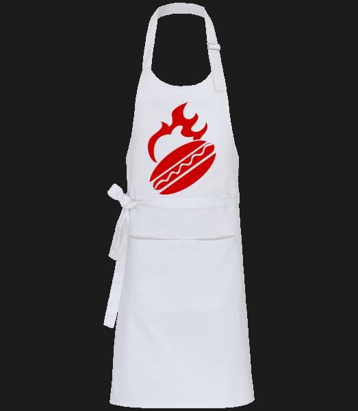 BBQ Burger Sign - Profi Kochschürze - Weiß - Vorn