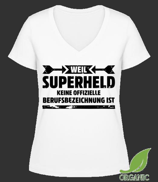Superheld - Janet Bio T-Shirt V-Ausschnitt - Weiß - Vorn