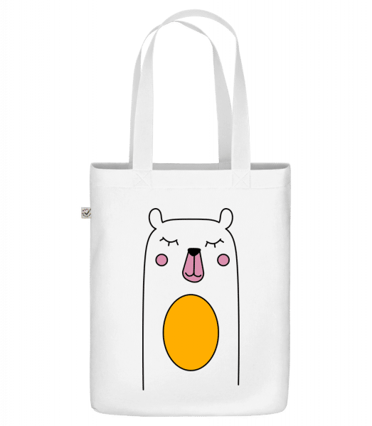 "Cute Bear - Organic ""Earth Positive"" tote bag - White - Vorn"