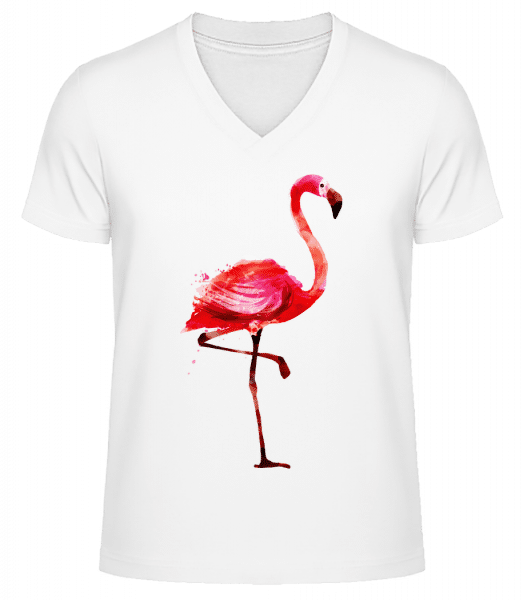Flamingo - Men's V-Neck Organic T-Shirt - White - Front