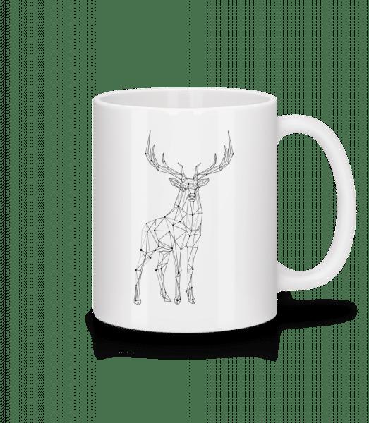 polygón Deer - Keramický hrnček - Biela - Predné
