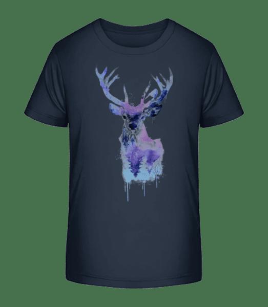 Artistic Deer - Kid's Premium Bio T-Shirt - Navy - Front