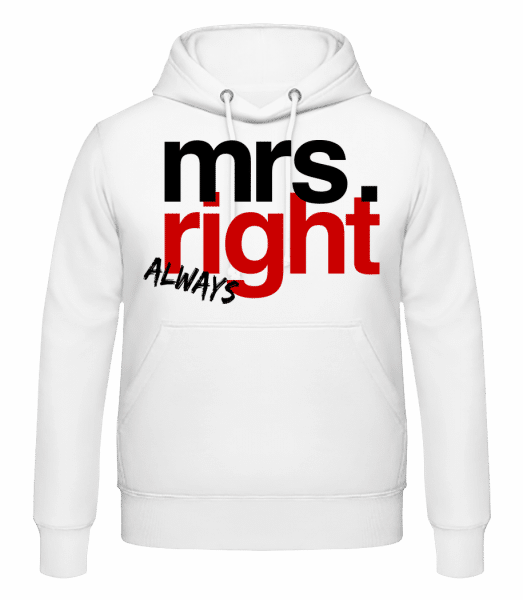 Mrs. Always Right Logo - Men's Hoodie - White - Front