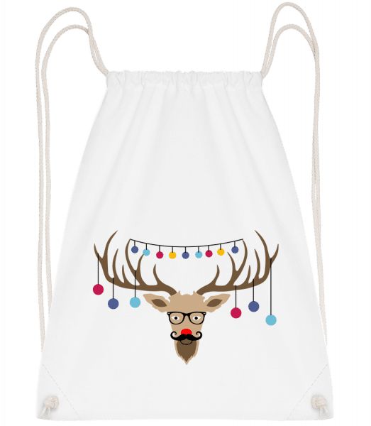 Christmas Reindeer - Drawstring Backpack - White - Vorn