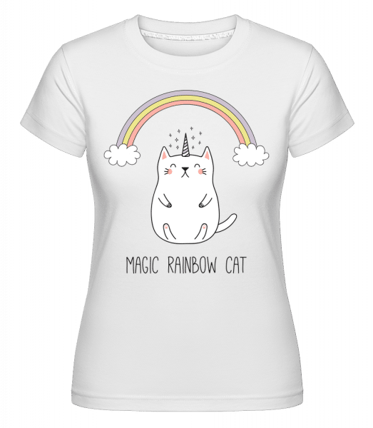 Magic Rainbow Cat -  Shirtinator Women's T-Shirt - White - Vorn