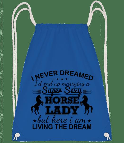 Sexy Horse Lady - Drawstring Backpack - Royal Blue - Vorn