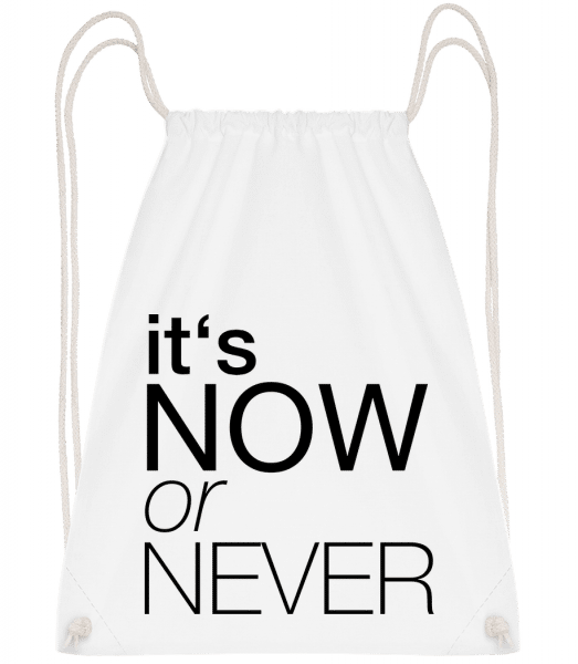 It's Now Or Never - Drawstring Backpack - White - Vorn