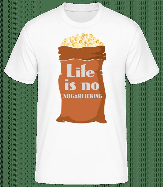 Life Is No Sugarlicking - Männer Basic T-Shirt - Weiß - Vorn