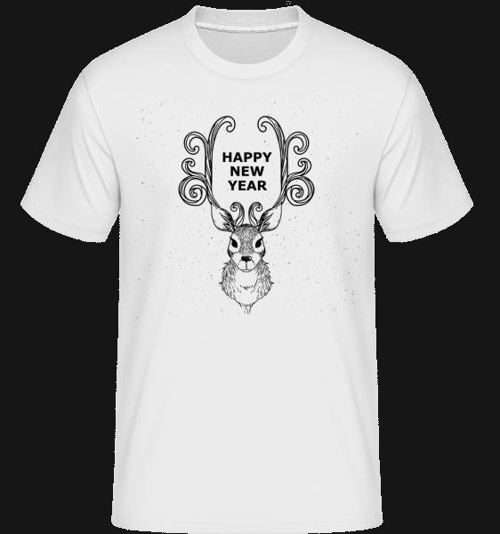 Happy New Year Raindeer -  Shirtinator Men's T-Shirt - White - Vorn