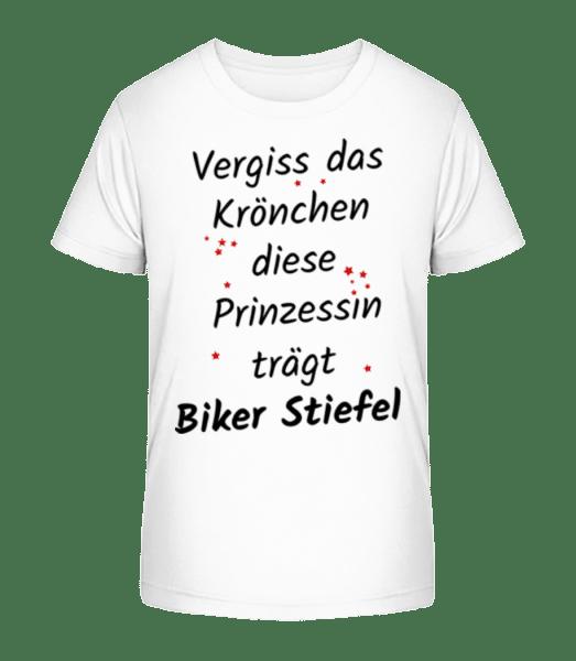 Prinzessin Trägt Biker Stiefel - Kinder Premium Bio T-Shirt - Weiß - Vorn