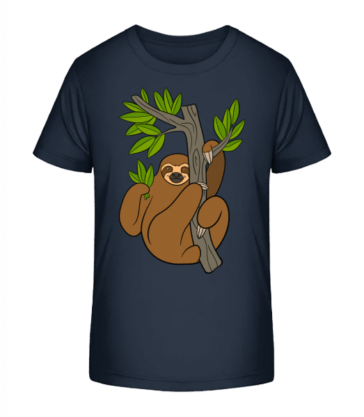 Sloth On The Tree - Kid's Premium Bio T-Shirt - Navy - Front