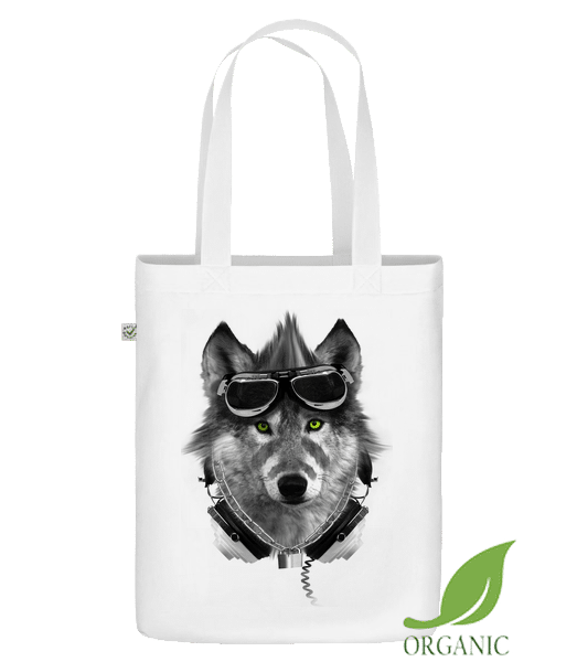 "Biker Wolf - Organic ""Earth Positive"" tote bag - White - Vorn"