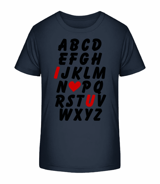 Love Alphabet - Kid's Premium Bio T-Shirt - Navy - Vorn