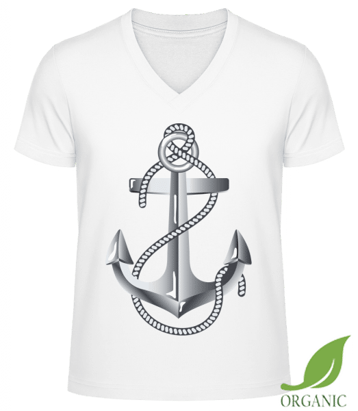 "Anchor Rope Comic Silver - ""James"" Organic V-Neck T-Shirt - White - Vorn"