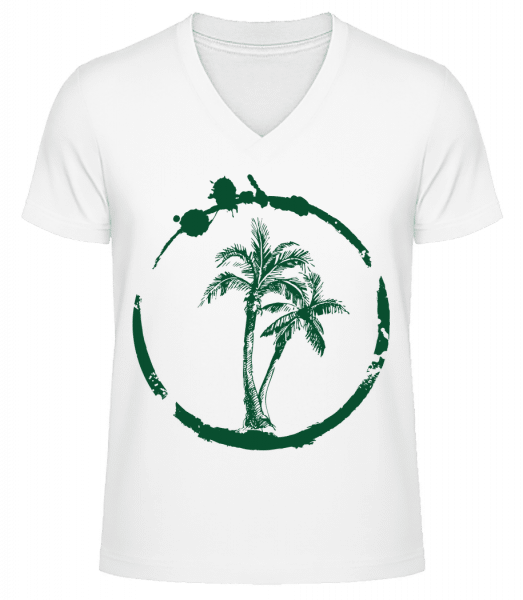 Holidays Palms - Men's V-Neck Organic T-Shirt - White - Front
