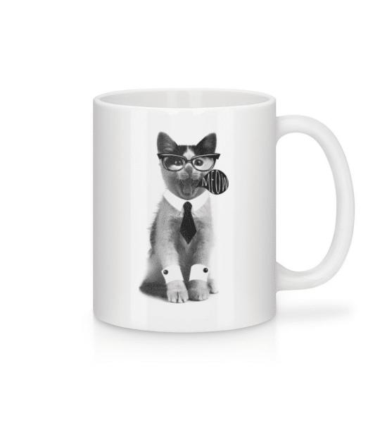 Hipster Cat - Mug - White - Front