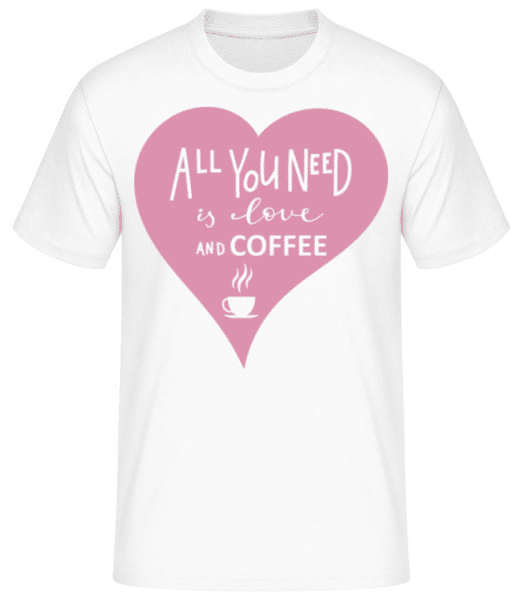 Love And Coffee - Men's Basic T-Shirt - White - Front