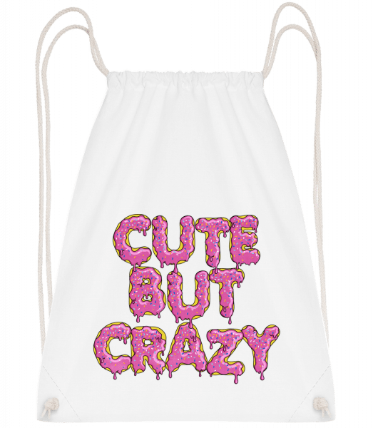 Cute But Crazy - Drawstring Backpack - White - Vorn
