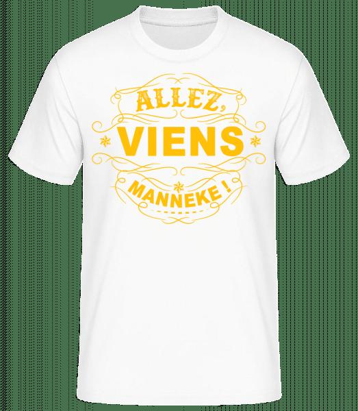 Allez Viens Manneke! - T-shirt standard Homme - Blanc - Vorn