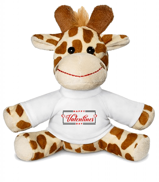 Happy Valentines Day - Giraffe - White - Front