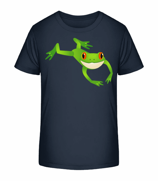 Relaxing Frog - Detské Premium Bio tričko - Namořnická modrá - Napřed