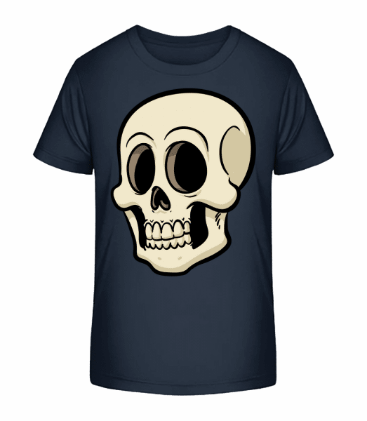Comic Totenkopf - Kinder Premium Bio T-Shirt - Marine - Vorn