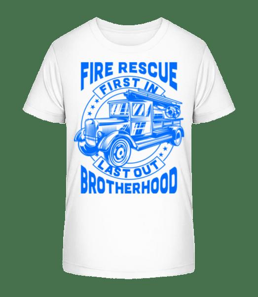 Fire Rescue First In Last - Kid's Premium Bio T-Shirt - White - Vorn