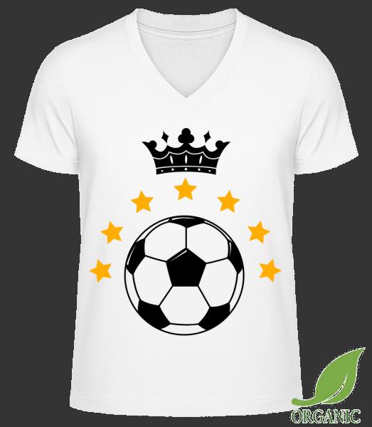 "Football Crown - ""James"" Organic V-Neck T-Shirt - White - Vorn"
